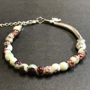 Light Turquoise and Purple Beaded Stretch Bracelet